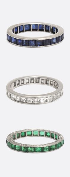 Early 20th Century gem-set Eternity Rings... Sapphire, Diamond, & Emerald - follow the link to see our full collection.