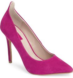 A raised back topline detail and a soaring covered stiletto work with a gracefully pointed toe to lengthen the look of the leg in this sizzling neon-suede pump.