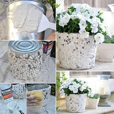 Welcome to the diy garden page dear DIY lovers. If your interest in diy garden projects, you'are in the right place. Creating an inviting outdoor space is a good idea and there are many DIY projects everyone can do easily. Rock Planters, Mosaic Planters, Diy Planters, Planter Ideas, Mosaic Garden, Pallet Planters, Stone Planters, Diy Simple, Easy Diy