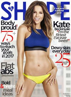 Kate Beckinsale Shows Off Her Amazing Abs for 'Shape'!: Photo Kate Beckinsale shows off her unbelievable figure on the cover of Shape's January/February issue, on newsstands today. Here's what the actress had… Shape Magazine, Health Magazine, Fitness Magazine, Magazine Photos, Kate Beckinsale Hot, Abs Workout Video, 54 Kg, Dewy Skin, Flat Abs