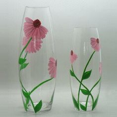 Glass Vases with Hand Painting/2 Sizes Available/B 12.5Dx35Hcm/C 11Dx28.5cm/Electric Furnace Quality