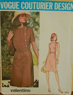Valentino Dress 1970's  Vogue Couturier Design by patterntreasury