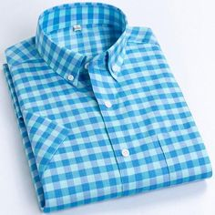 Men's Casual Short-Sleeve Checkered Shirts Standard-fit Summer Thin So – Ifomt Dickies Shorts, Plaid Fabric, Cotton Shorts, Shirt Sleeves, Types Of Shirts, Shirt Dress, Plaid Dress, Casual Shirts, Men Casual