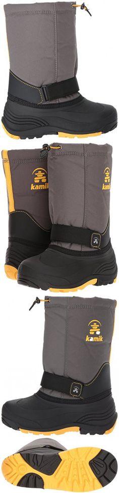 Kamik Boys' Rocket Snow Boot, Charcoal/Yellow, 9 Medium US Toddler