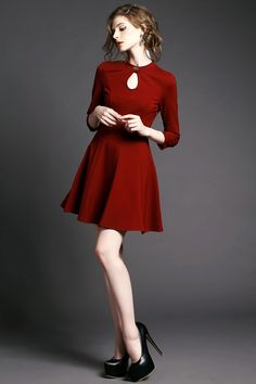 Shop Wine Red Lace Back Bow Embellished Dress online. SheIn offers Wine Red Lace Back Bow Embellished Dress & more to fit your fashionable needs. Fashion Beauty, Girl Fashion, Womens Fashion, Fashion Design, Colorful Fashion, Retro Fashion, Keyhole Dress, Inspiration Mode, Foto Pose
