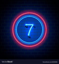 Neon city font sign number 7 vector image on VectorStock Neon Number, Number 7, Lucky Number, Seven Logo, Impression Poster, Dhoni Wallpapers, 7 Tattoo, Pop Art Drawing, 7 Logo