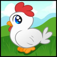 How to Draw a Chicken for Kids - Animals For Kids Learning To Draw For Kids, Drawing Lessons For Kids, Easy Drawings For Kids, Cute Drawings, Art Lessons, Online Coloring For Kids, Chicken Pictures, Art Assignments, Chicken Art