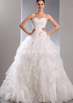Princess A-Line Sweetheart Neckline Flowers Cascading Ruffles Organza Chapel Train Wedding Dresses Gowns