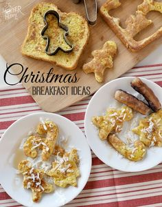 Christmas Breakfast Ideas - festive pancakes, french toast cut outs, make ahead casseroles, and overnight crock pot recipes Christmas Brunch, Christmas Breakfast, Christmas Cooking, Christmas Goodies, Christmas Treats, Holiday Treats, Holiday Recipes, Christmas Pancakes, Creative Food