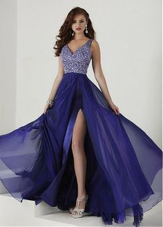 Buy discount Shining Tulle   Silk-like Chiffon V-Neck A-Line Prom 6d8d7e3f28b8