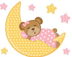 TEDDY BEAR DECAL Moon Star Wall Art Mural Girl Nursery Stickers Decor Pink Baby…