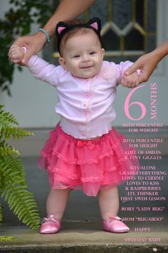 My sweet 6 month baby girl in her pink sweater tutu and ballet slippers  adorable baby announcement cute baby photo ideas