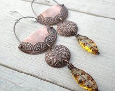 Tribal Crescent Star Earrings // etched copper // sterling silver ear hooks // long shoulder brushing gypsy bohemian jewelry (2785)871