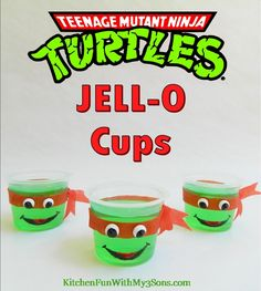 Teenage Mutant Ninja Turtle JELL-O Cups...so easy from KitchenFunWithMy3Sons.com (Change up & use ribbon for masks to do all turtles)