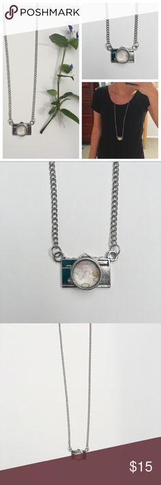"""Camera necklace / pendant with globe image in lens Beautiful handmade silver camera necklace. Picture of globe in the lens. 32"""" chain. Perfect gift for photographers that love to travel the world. Jewelry Necklaces"""