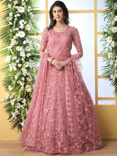 Net anarkali style party wear gown thread embroidery work in dusty peach color. Dusty peach long gown is net fabricated top and dupatta with santoon fabric bottom. Dusty peach gown online shopping at best prices. Robe Anarkali, Costumes Anarkali, Long Anarkali Gown, Indian Anarkali, Lehnga Dress, Abaya Style, Long Gown Dress, The Dress, Long Gowns