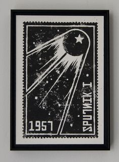 Framed Sputnik I linocut print in black and white showing the iconic Russian space satellite of 1957
