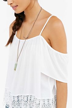 Kimchi Blue Crochet-Trim Cold Shoulder Top - Urban Outfitters