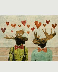 "Love Moose Art Print 8""x10"" by PergamoPaperGoods on Etsy"