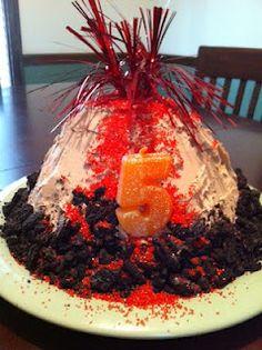 volcano cake | Dinosaur Party Ideas | Pinterest | Erupting volcano ...