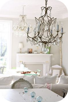 white....and chandeliers