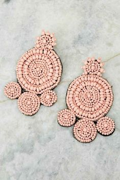 Don't Stand A Chance Light Pink Statement Earrings Seed Bead Jewelry, Diy Jewelry, Beaded Jewelry, Jewelery, Bead Earrings, Statement Earrings, Crochet Earrings, Christmas Accessories, Craft Accessories
