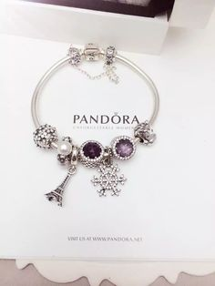 50% OFF!!! $219 Pandora Charm Bracelet White Black Purple. Hot Sale!!! SKU: CB02065 - PANDORA Bracelet Ideas