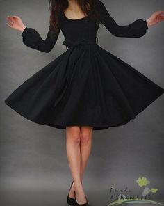 Love Sleeved Black Dress--- fun and flirty!! Vintage Style:: Retro Fashion::