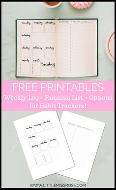 Free bullet journal printables to download and quickly set up your weekly log. Here you'll find a weekly log to list your events, a running list for your tasks. If you don't like the items that are tracked there is a weekly log version with no headers that you can customise yourself! www.littlemissrose.com