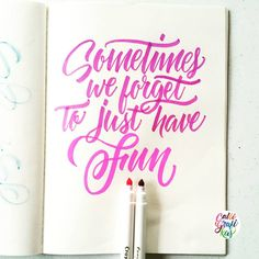 Sometimes we forget to just have fun #calligrafikas #grafikas #dreweuropeo #moderncalligraphy #lettering #handlettering #brushlettering Paper: Sunday Paper Co. Notebook Pen: Crayola Supertips All Crayola products are available @ogalalaworld in NBS & Toy Kingdom