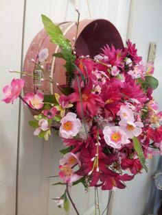 Pink Silk Floral Hat Box Arrangement Wall by kareniscreative, $75.00