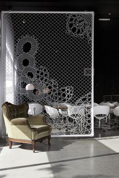 Amazing use of Lace fence as a room divider #interiordesign #roomdividers