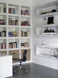 Bright, Orderly office, White furniture, White walls, Natural light, Home office, Amazing shelving, Industrial chair.