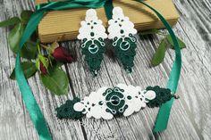 "Komplet biżuterii ślubnej ""Emerald & White"""