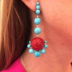 SABBA Turquoise, Coral and Diamond Ear Pendants #ForSale #FDGallery