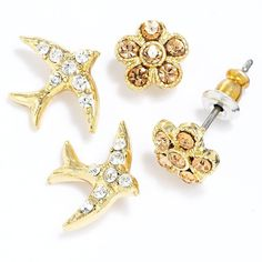 LC Lauren Conrad Gold Tone Simulated Crystal Flower & Bird Button Stud... ($10) ❤ liked on Polyvore
