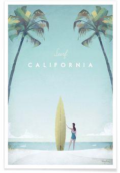 California als Premium Poster von Henry Rivers | JUNIQE// AB, in den URLAUB! Noch ist der ganze Strand zu haben. Aber in wenigen Stunden werden die ersten unsere Werbung entdeckt haben.