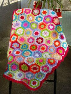 Abuela cuadrados ganchillo manta de cuna de bebé