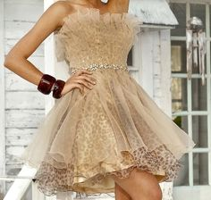 Champagne tulle over leopard party dress