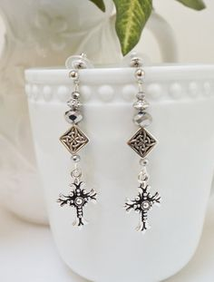 Cross Earrings Crystal and Metal  Earrings with Clear and Mercury Crystals, Silver Cross Dangles and Nickel Free Silver tone Studs