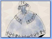 la reina blanca, por su nombre es lógico que su vestimenta sea blanca, ella hace presencia con el mismo vestido blanco, pero es un vestido hermoso y llamativo