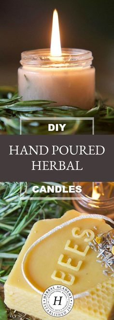 DIY Hand Poured Herbal Candles - Are you looking for a simple way to enjoy the ambiance of candlelight without all the chemicals? Try making your own hand poured herbal candles instead! Homemade Candles, Homemade Crafts, Easy Crafts, Beeswax Candles, Scented Candles, Diy Aromatherapy Candles, Citronella Candles, Candels, Soy Candle