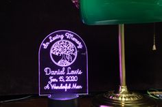 Yahrzeit Personalized Memorial Candle - Engraved Acrylic Color Changing LED #YizkorLights #MemorialLight #JudaicaCandles #JewishStar #Memorial #Shalom #Menorah #ColorChanging #EdgeLit #PersonalizedCustom Judaica Store, Knights Of Columbus, Police Gifts, Desk Light, Color Changing Led, Menorah, Glass Blocks, Star Of David, Acrylic Colors
