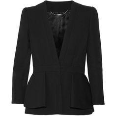 Alexander McQueen - Wool-blend Peplum Blazer ($1,163) ❤ liked on Polyvore featuring outerwear, jackets, blazers, black, alexander mcqueen jacket, wool blended jacket, wool blend blazer, peplum blazer and blazer jacket