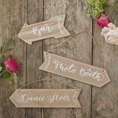 """These three lovely wooden arrow hanging signs are perfect to decorate any party or wedding venue! Join your guests on the dancefloor, bar and photo booth with these unique signs! The vintage styled sign reads """"Bar, Dance Floor and Photo Booth"""". A gorgeous way to decorative and direct your family and friends at your special occasion! You can buy it on www.yesido.cloud"""