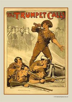 World War I Australian recruitment poster, titled 'The Trumpet Calls', featuring an iconic image by artist Norman Lindsay Ww1 Propaganda Posters, Norman Lindsay, World War One, Military History, Ww2 History, Vintage Posters, Vintage Signs, Australian Men, Australian Vintage