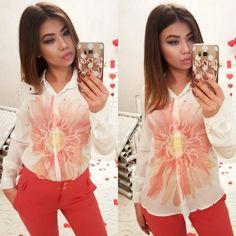 Рубашка ,с крупным принтом-цветок