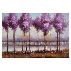Artfully hand-painted, this beautiful canvas wall art depicts elegant lilac trees reflected against a pastel sky. Lilac Reflections Wall Decor @ Joss and Main.