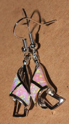 """pink fire opal earrings Gemstone silver jewelry chic flower drop/dangle 1"""" LONG #DropDangle"""