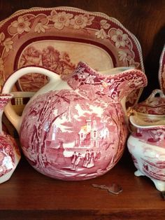 Milk jug — this pattern kind of reminds me of my grandmother's old china. Antique Dishes, Vintage Dishes, Vintage Pyrex, Antique China, Vintage China, Red And Pink, Red And White, Red Cottage, White Dishes